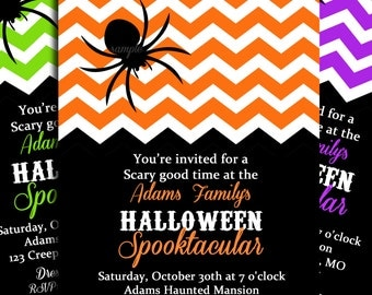 Halloween Party Chevron Invitation Printable or Printed with FREE SHIPPING - You Pick Colors - Halloween Birthday or Halloween Bash