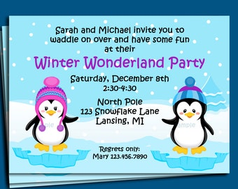 Penguin Winter Wonderland Invitation Printable or Printed with FREE SHIPPING - You Pick Girl/Boy Images - Birthday, Holiday Party, etc.
