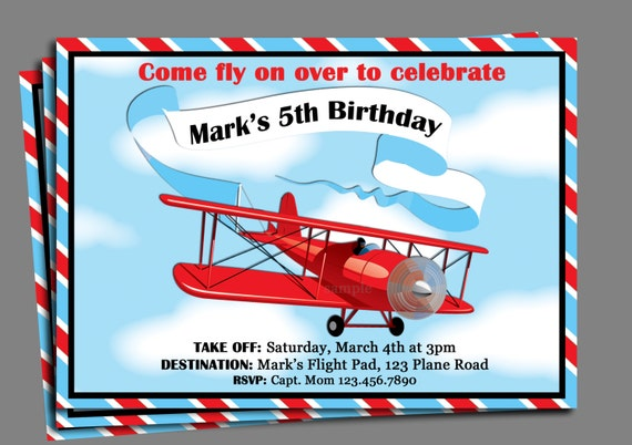 vintage airplane birthday invitation printable or printed with, Birthday invitations