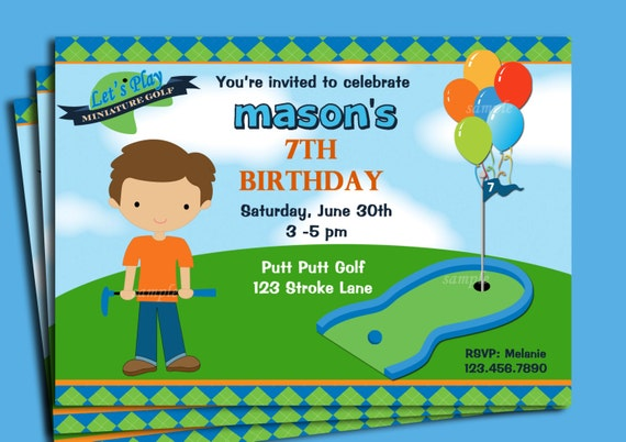 Boys Golf Invitation Printable or Printed with FREE SHIPPING – Golf Party Invites
