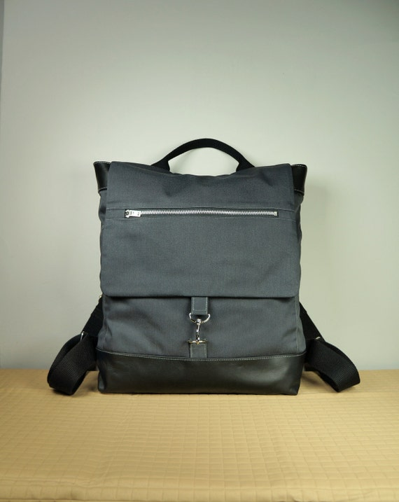 Metro Backpack in Charcoal Canvas Twill with Leather Trims and Multiple Pockets/ School Bag/ Laptop Bag/ Back To School/ New York