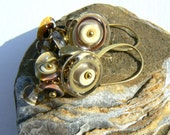 Handmade Lampwork and Gold Vermeil Earrings,Natural Sea and Sand Colours Cluster Earrings