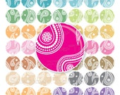 """INSTANT DOWNLOAD - 1"""" Circles 8.5""""×11"""" Paisley 03 JPG pink blue purple green Bottle cap Hair bow Glass Resin Stickers Cards Hangtags pyo diy"""