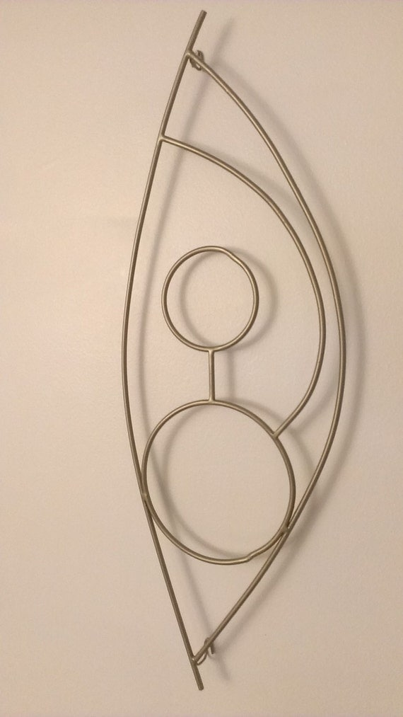 Abstract Metal Wall Hanging Painted in Antique Gold