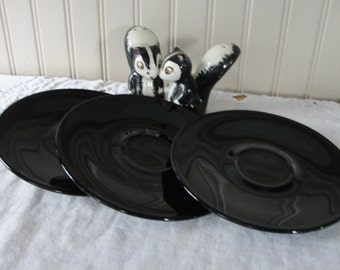 Stoneware saucers Black set of three