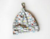 Organic Knotty Hat in Geometric Circles - Baby Hat in Gray, Red, Orange, Yellow and Blue Newborn 0-6 months or 6-12 months
