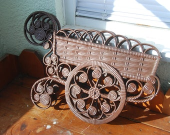 Vintage Flower Cart Wall Hanging that Holds Plastic Flowers Over 22 Inches long