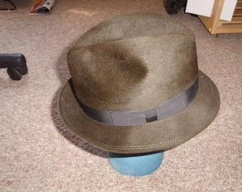 vintage mens hat fedora knox premier felt 1950s