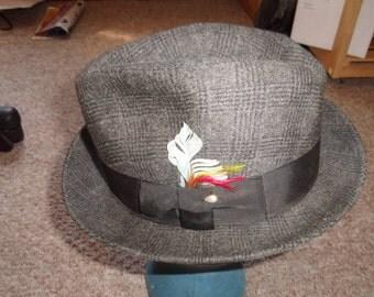 vintage mens hat fedora newport merino felt tweed