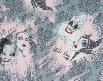 Disney Villains Fabric  / Female Villains / Wicked Women Vile Vixens  / Cruella Deville, Maleficent, Ursula, Queen Stepmother / By the Yard
