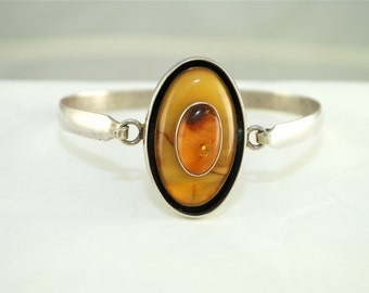 Amber and Silver Bangle Bracelet