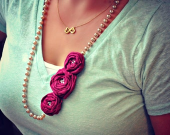Raspberry Rosette Trio On A Rose Gold Bead Necklace