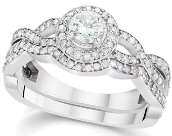 1.25CT Curve Engagement Ring & Matching Band 14K White Gold