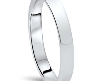 950 Platinum Wedding Band Womens 3MM Dome High Polished Plain Anniversary Ring Size (4-10)