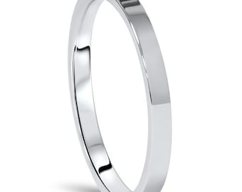 950 Platinum Wedding Band Womens 2MM Flat High Polished Plain Anniversary Ring Size (4-10)