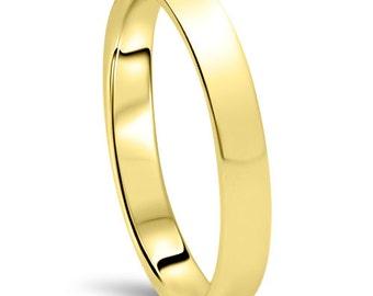 10K Yellow Gold 3M Flat High Polished Plain Anniversary Ring, Simple Flat Wedding band, High Polished Wedding Band, Simple Anniversary Plain