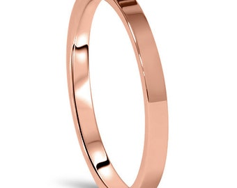 Rose Gold Wedding Band Womens 14K 2MM Flat High Polished Plain Anniversary Ring Size (4-10)