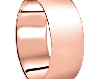 Rose Gold Ring, Rose Gold Wedding Band, Plain Rose Gold Band, Mans Rose Gold Band Mens 14k Rose Gold 9mm Dome Plain Wedding Band High Polish