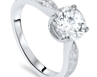 Solitaire Round Diamond Vintage Hand Engraved Engagement Ring 1.55CT Solitaire Round Diamond Vintage Hand Engraved Engagement Ring Antique