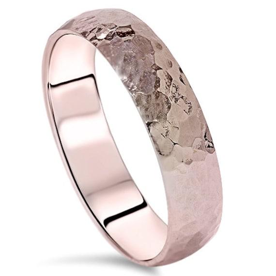 5MM Hammered Rose Gold Mens Wedding Band Ring 14 KT