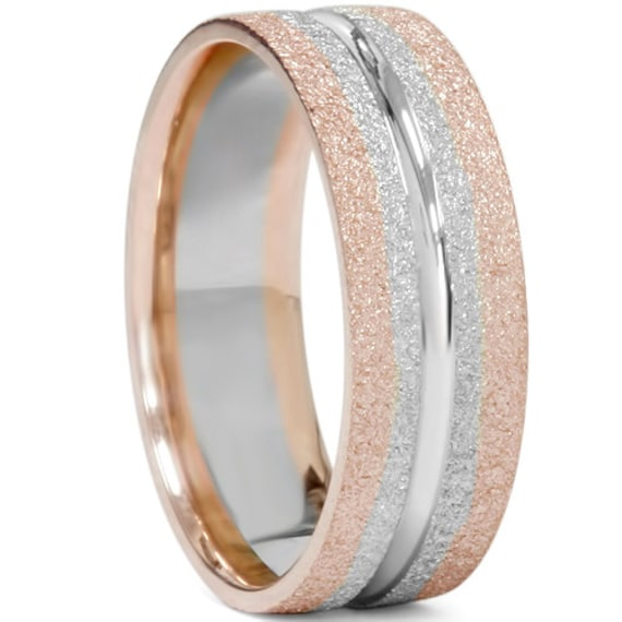 Mens Two Tone Wedding Band 14K Rose Amp White Gold Two Tone Mens
