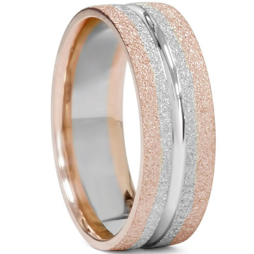 Mens Two Tone Wedding Band 14K Rose White Gold