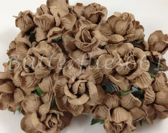10 Taupe Handmade Mulberry Paper Flowers DIY Wedding bouquets Scrapbooking Crafts Roses 40-TAU