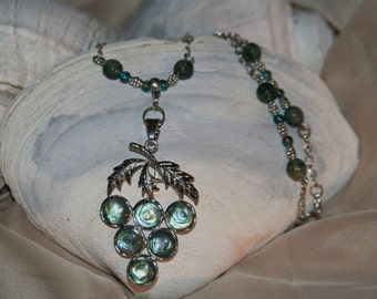 grapes in abalone necklace