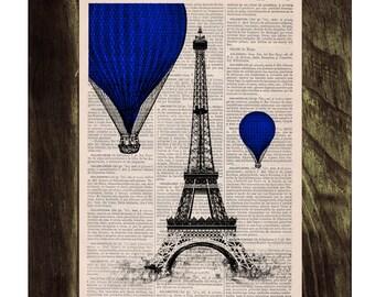 Vintage Book Print -  Eiffel Tower Blue Balloons Ride Print on Vintage Book -France art TVH028