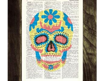 Summer Sale Sugar skull wall art  - Mexican Skull book print - Dia de los muertos Print Vintage Art Print Simple Skull SKA017