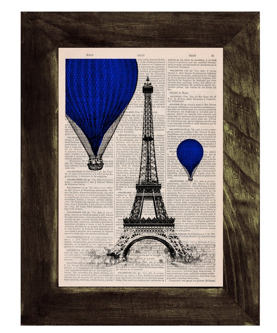 Vintage Book Print -  Eiffel Tower Blue Balloons Ride Print on Vintage Book -France art TVH028
