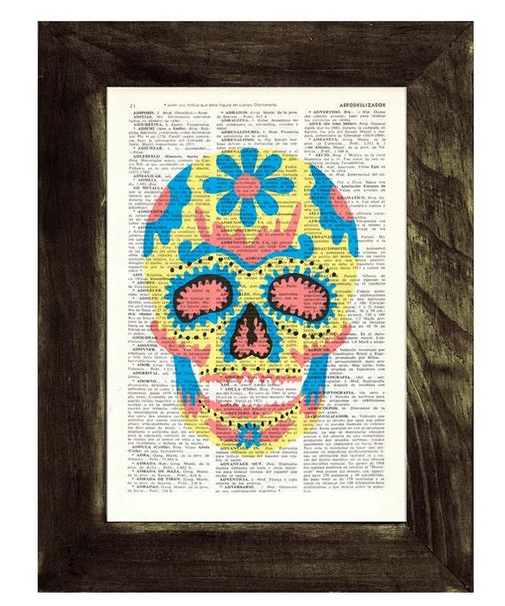 Spring Sale Sugar skull wall art  - Mexican Skull book print - Dia de los muertos Print Vintage Art Print Simple Skull BPSK017