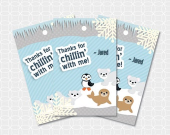 Arctic Animals Party Thank You Tags, Printable file, Personalized