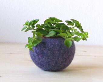 Free Shipping - Succulent vase / Plant pod / felted bowl / air plant vase / purple fall grape / housewarming gift