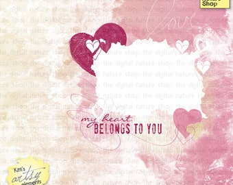 Valentine Hearts Layered Template - Artsy Digital Layout  MINI Kit - INSTANT DOWNLOAD for Scrapbooking, Cards, Crafts, Journaling, Collage