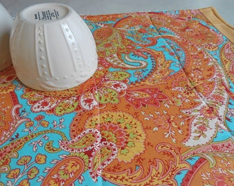 Dish Drying Mat/Dish Mat in Turquoise Blue and Orange Paisley / Kitchen Drying Towel / Dish Drying Mat /  Great Gift