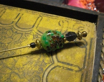 Green Glass Beaded Hat Pin