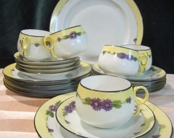 SALE Beautiful Vintage 22 Piece Set of Hand Painted Nippon China