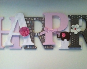 Alphabet wooden letters for nursery in pink, white and brown spelling out your child's name letters stand up initial monogram