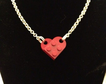 Red Lego Heart Necklace