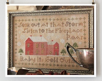 Baby It's Cold Outside : Heartstring Samplery cross stitch pattern Christmas December Winter snow embroidery