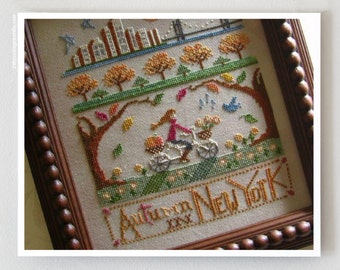 Autumn in New York : Primrose Needleworks cross stitch patterns New York City NYC October falling leaves counting hand embroidery