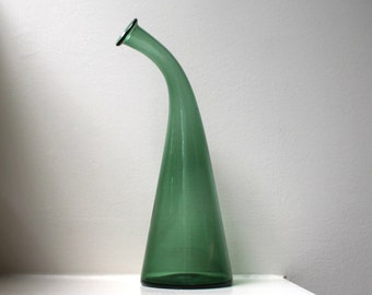 Modernist Green Art Glass Bent Neck Bottle Vase Decanter Hand Blown Blenko Style Mid Century 1960's