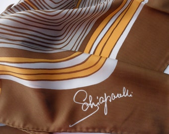 vintage Schiaparelli silk scarf - geometric, hand rolled, designer, made in Japan