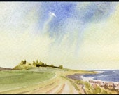 Original miniature watercolour of Dunstanburgh Castle Northumberland England