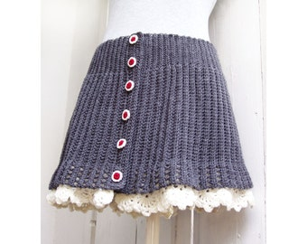 Grey Rib Buttoned Skirt with Lace Border - Crochet Pattern  - Instant Download