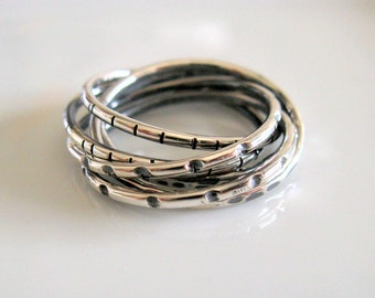 Men's Jewelry. Six Interlocked Sterling Silver Organic Bands. Infinity Shaped Textured Bands. Handmade Jewelry. Russian Style