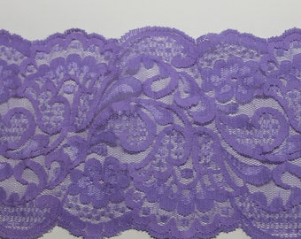 Lavender Floral Stretch Lace Trim -5 Inch Wide - Bridal garter, headband, lingerie, Lace Boot Socks