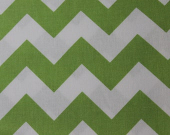 Green and White Medium Chevron Cotton Riley Blake Fabric, Baby Car Seat Cover, Baby Blankets, Bibs, Curtains, Aprons, Headbands, Home Decor