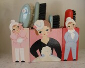 SALE !!!!   Best Ever Antique 1920's Hand Painted Art Deco Brush Holder Set Flapper Motif Made in Germany Wall Pockets